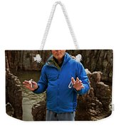A Man Holds Climbing Gear And Smiles Weekender Tote Bag