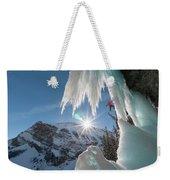A Man Ice Climbing Louise Falls Weekender Tote Bag