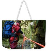 A Man Lowers A Rope For Canyoning Weekender Tote Bag