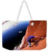 A Man Rock Climbing Weekender Tote Bag