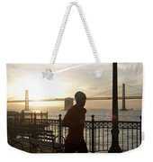 A Man Running On A Dock In The Harbour Weekender Tote Bag