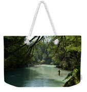 A Man Stands In A River Wearing Waders Weekender Tote Bag