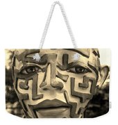 A Maze Ing Face Sepia Weekender Tote Bag