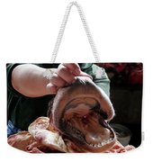 A Meat Seller Shows Off A Cow Snout Weekender Tote Bag