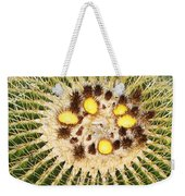 A Mexican Golden Barrel Cactus With Blossoms Weekender Tote Bag
