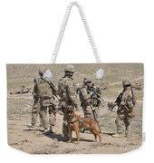 A Military Working Dog Accompanies U.s Weekender Tote Bag