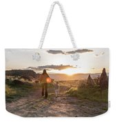 A Mother And Child Hike At Sunset Weekender Tote Bag
