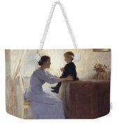 A Mother And Child In An Interior Weekender Tote Bag by Peter Vilhelm Ilsted
