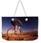 A Mountain Bike Rider On A Ride Weekender Tote Bag