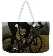 A Mountain Biker Makes His Final Weekender Tote Bag