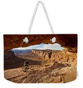 A Mountain Biker Rides By On Slickrock Weekender Tote Bag