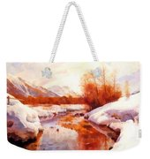 A Mountain Torrent In A Winter Landscape Weekender Tote Bag