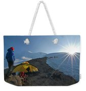 A Mountaineer Contemplates The Sun Weekender Tote Bag