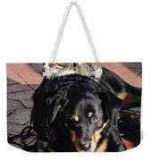 A Mouse On A Cat On A Dog In Santa Weekender Tote Bag