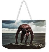 A Muscular Man In The Starting Position Weekender Tote Bag