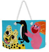 A Naked Woman Holding A Penguin Weekender Tote Bag