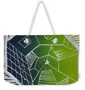 A New Dimension Blue And Green Linocut Weekender Tote Bag