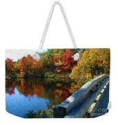 A Painting Autumn Lake And Bridge Weekender Tote Bag
