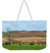 A Painting Cows Grazing And Newport Bridge Weekender Tote Bag