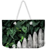 A Painting Fence And Leaves Dali-style Weekender Tote Bag