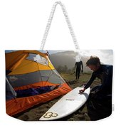 A Pair Of Surfers Prepare To Surf Weekender Tote Bag