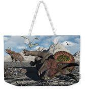 A Pair Of Triceratops Trapped Weekender Tote Bag