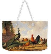A Peacock And Chickens In A Landscape  Weekender Tote Bag