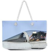 A Pilot Salutes Prior To Take Off In An Weekender Tote Bag