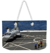 A Plane Captain Signals To A Ch-46e Sea Weekender Tote Bag