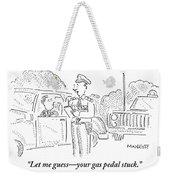 A Policeman Is Seen Speaking To A Man In A Car Weekender Tote Bag