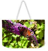 A Red Admiral On A Purple Budlier Weekender Tote Bag