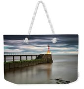 A Red And White Striped Lighthouse Weekender Tote Bag