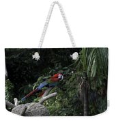 A Red Green And Blue Macaw On A Branch In The Jurong Bird Park Weekender Tote Bag