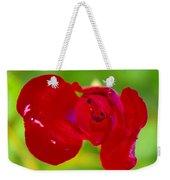 A Red Wet Rose Weekender Tote Bag
