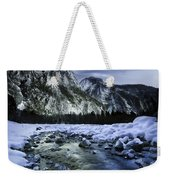A River Flowing Through The Snowy Weekender Tote Bag