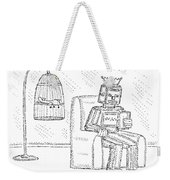 A Robot Sits Reading In A Chair Weekender Tote Bag