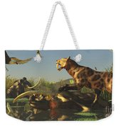 A Saber Tooth Cat Attacks A Woolly Weekender Tote Bag