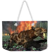 A Saber-toothed Tiger Running Away Weekender Tote Bag