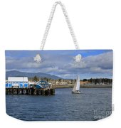 A Sailing Yacht Passes The Wharf In Sidney Harbour Weekender Tote Bag