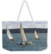 A Sailing Yacht Rounds A Buoy In A Close Sailing Race Weekender Tote Bag