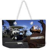 A Sailor Signals To Pilots Of An E-2c Weekender Tote Bag