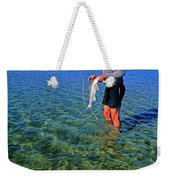 A Salt Water Fly Fisherman Catches Weekender Tote Bag