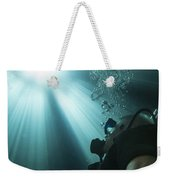 A Scuba Diver Surfacing And Looking Weekender Tote Bag