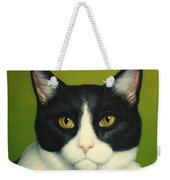 A Serious Cat Weekender Tote Bag by James W Johnson