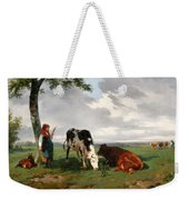 A Shepherdess With A Goat And Two Cows In A Meadow Weekender Tote Bag