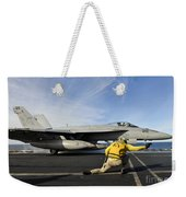A Shooter Signals To Launch An Fa-18e Weekender Tote Bag