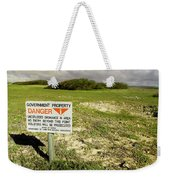 A Sign Warns Of Dangerous Unexploded Weekender Tote Bag