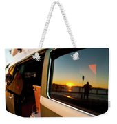 A Silhouette Of A Man Holding A Paddle Weekender Tote Bag