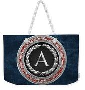 A - Silver Vintage Monogram On Blue Leather Weekender Tote Bag