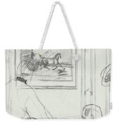 A Sketch Of A Horse Painting At A Bar Weekender Tote Bag